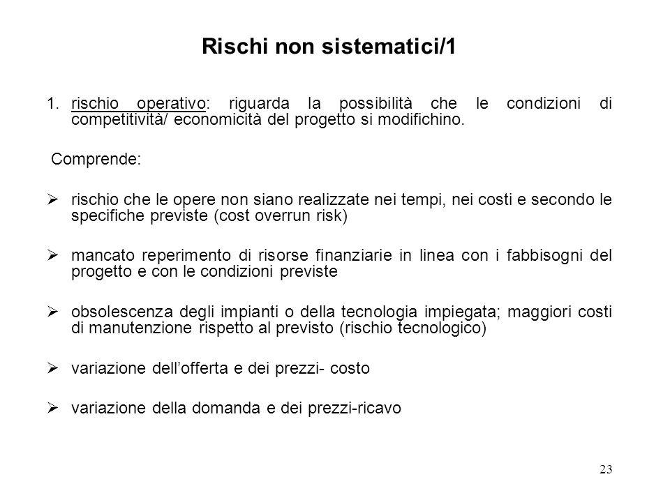 23 Rischi non sistematici/1 1.rischio operativo: riguarda la possibilità che le condizioni di competitività/ economicità del progetto si modifichino.