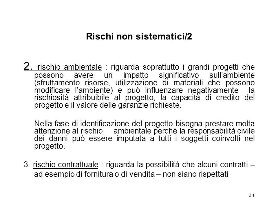 24 Rischi non sistematici/2 2. rischio ambientale : riguarda soprattutto i grandi progetti che possono avere un impatto significativo sullambiente (sf