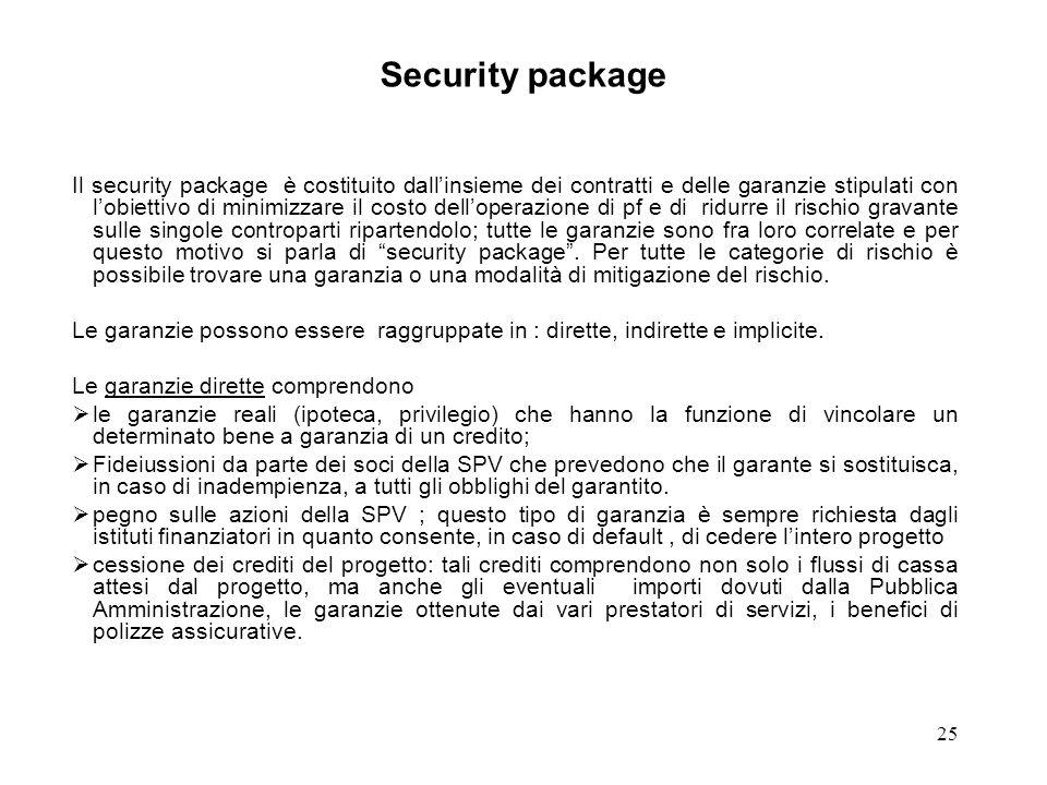 25 Security package Il security package è costituito dallinsieme dei contratti e delle garanzie stipulati con lobiettivo di minimizzare il costo dello