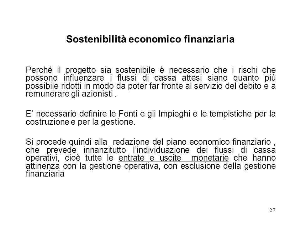 27 Sostenibilità economico finanziaria Perché il progetto sia sostenibile è necessario che i rischi che possono influenzare i flussi di cassa attesi s