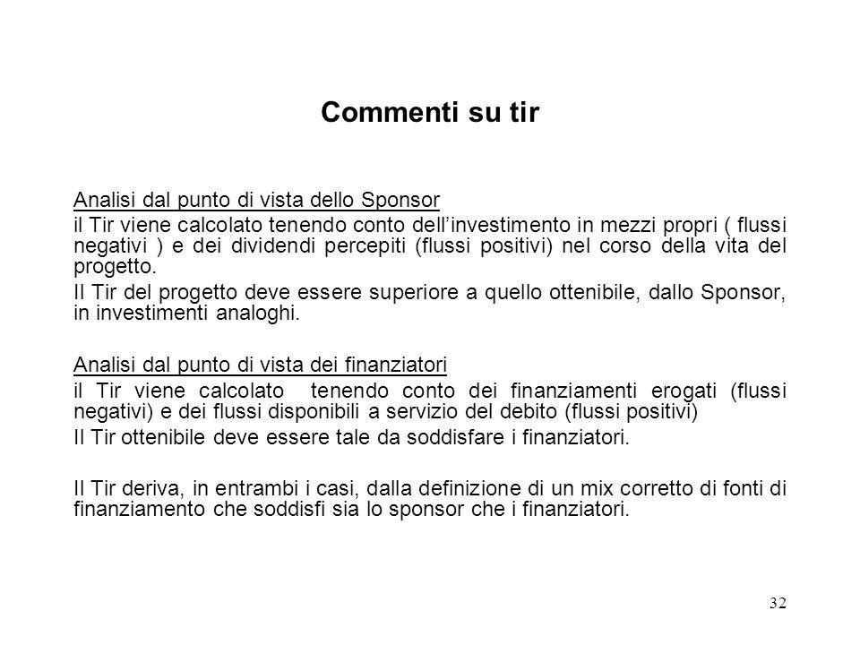 32 Commenti su tir Analisi dal punto di vista dello Sponsor il Tir viene calcolato tenendo conto dellinvestimento in mezzi propri ( flussi negativi )