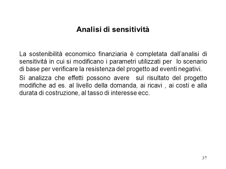 37 Analisi di sensitività La sostenibilità economico finanziaria è completata dallanalisi di sensitività in cui si modificano i parametri utilizzati p