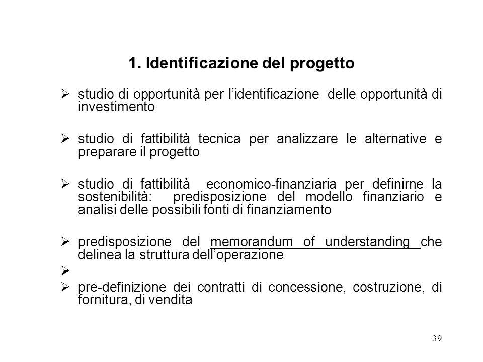 39 1. Identificazione del progetto studio di opportunità per lidentificazione delle opportunità di investimento studio di fattibilità tecnica per anal