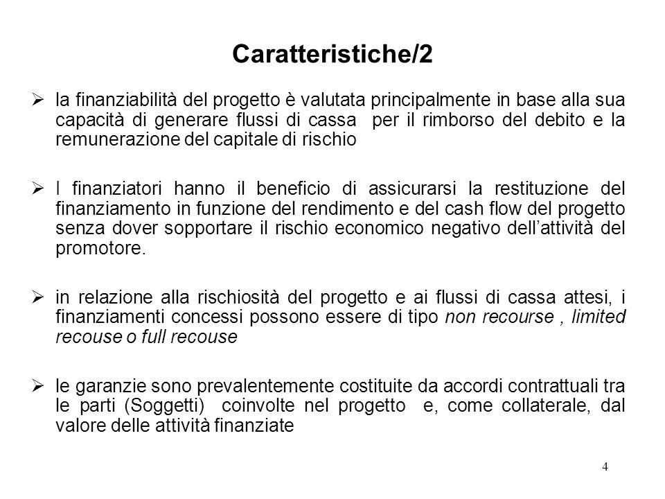4 Caratteristiche/2 la finanziabilità del progetto è valutata principalmente in base alla sua capacità di generare flussi di cassa per il rimborso del