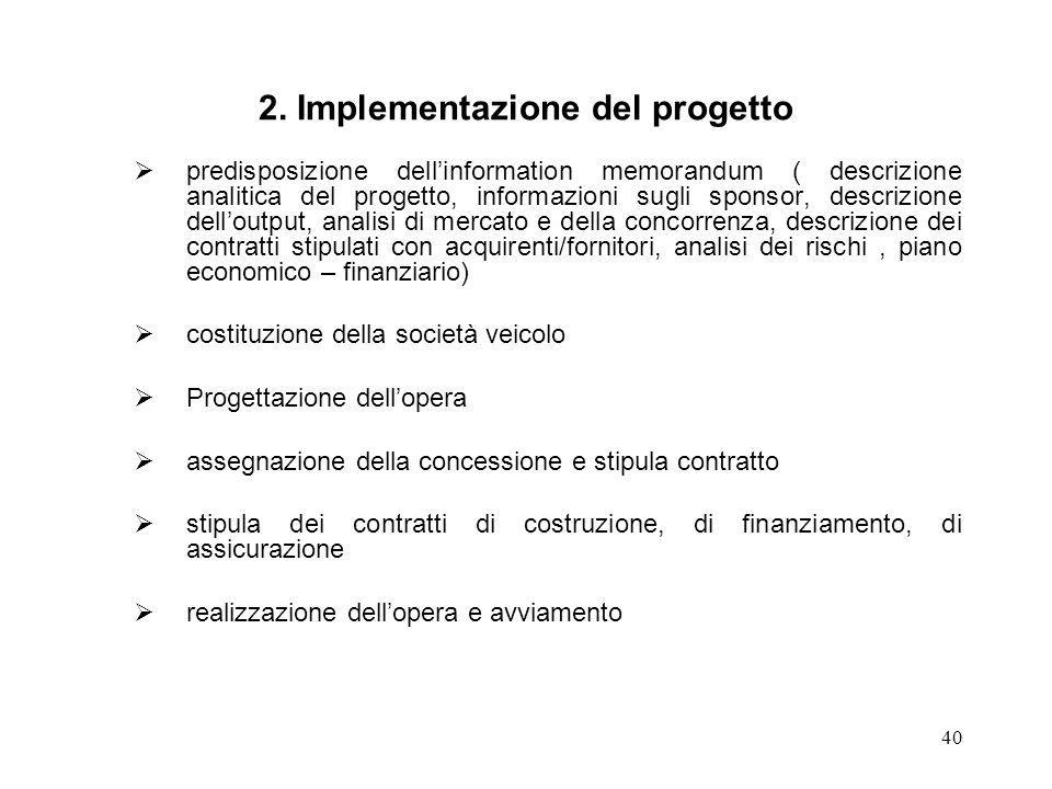 40 2. Implementazione del progetto predisposizione dellinformation memorandum ( descrizione analitica del progetto, informazioni sugli sponsor, descri