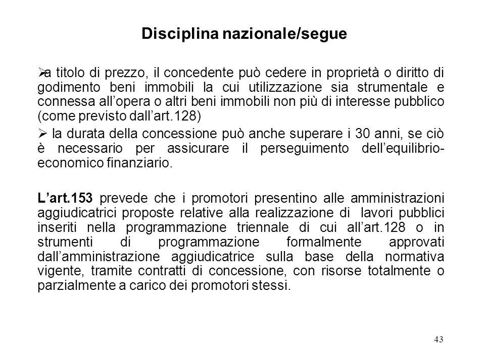 43 Disciplina nazionale/segue a titolo di prezzo, il concedente può cedere in proprietà o diritto di godimento beni immobili la cui utilizzazione sia