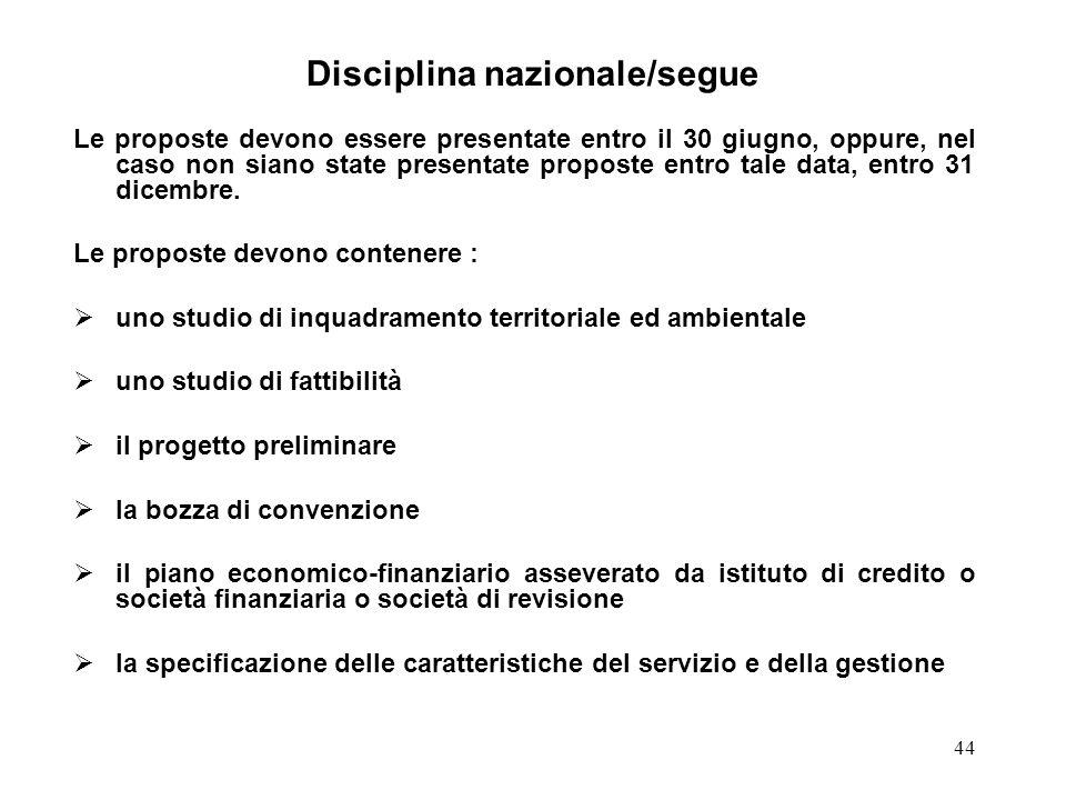 44 Disciplina nazionale/segue Le proposte devono essere presentate entro il 30 giugno, oppure, nel caso non siano state presentate proposte entro tale