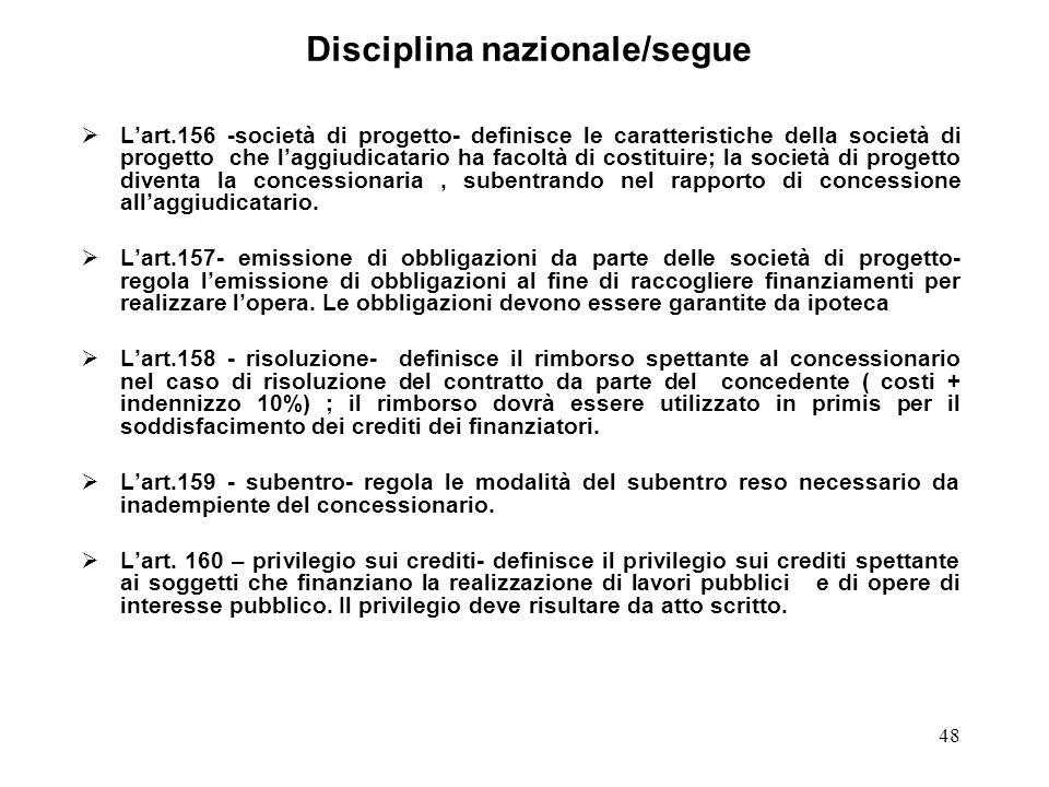 48 Disciplina nazionale/segue Lart.156 -società di progetto- definisce le caratteristiche della società di progetto che laggiudicatario ha facoltà di