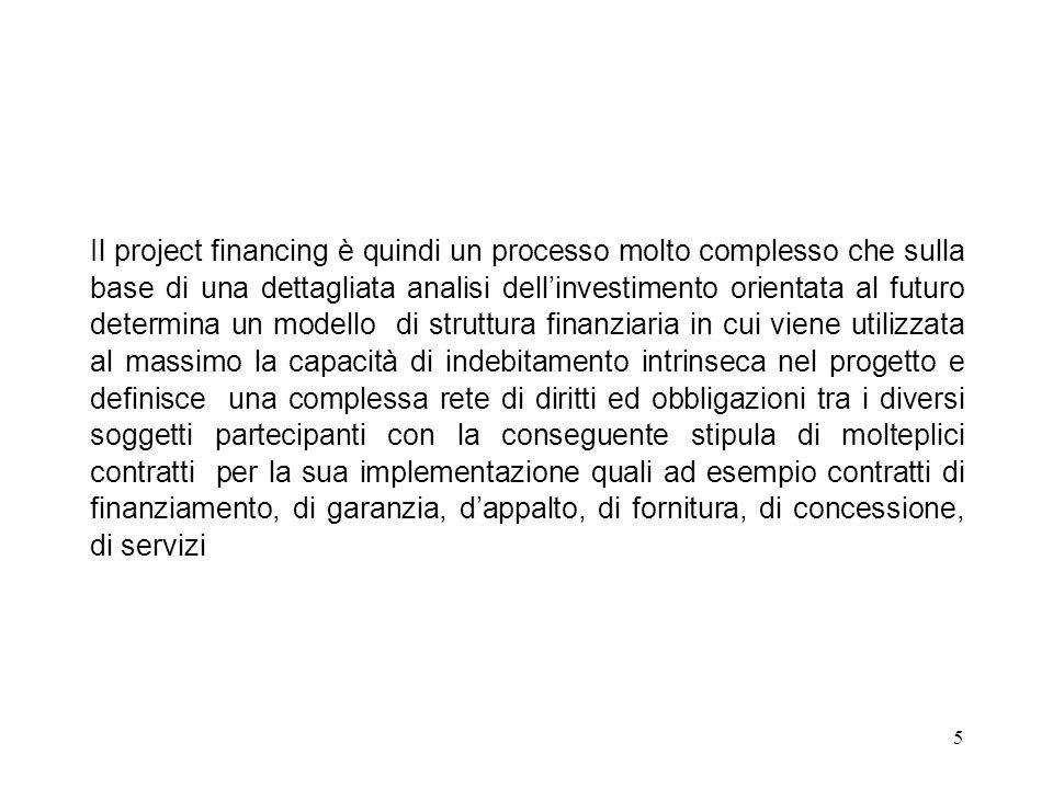 5 Il project financing è quindi un processo molto complesso che sulla base di una dettagliata analisi dellinvestimento orientata al futuro determina u