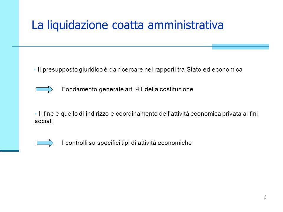 2 La liquidazione coatta amministrativa Il presupposto giuridico è da ricercare nei rapporti tra Stato ed economica I controlli su specifici tipi di attività economiche Fondamento generale art.