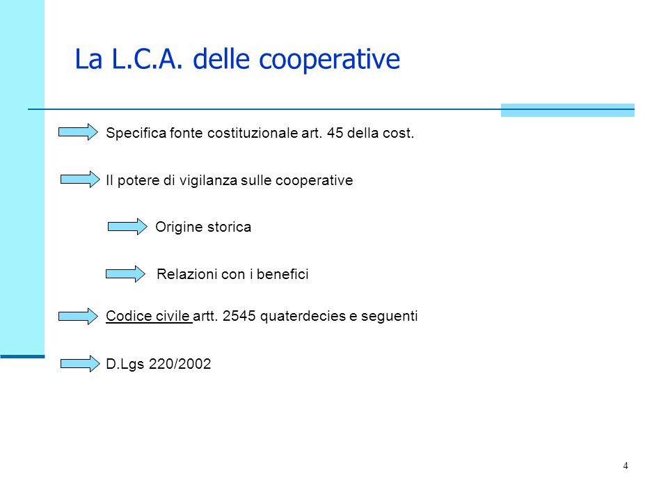 4 La L.C.A. delle cooperative Specifica fonte costituzionale art. 45 della cost. Il potere di vigilanza sulle cooperative Origine storica Relazioni co