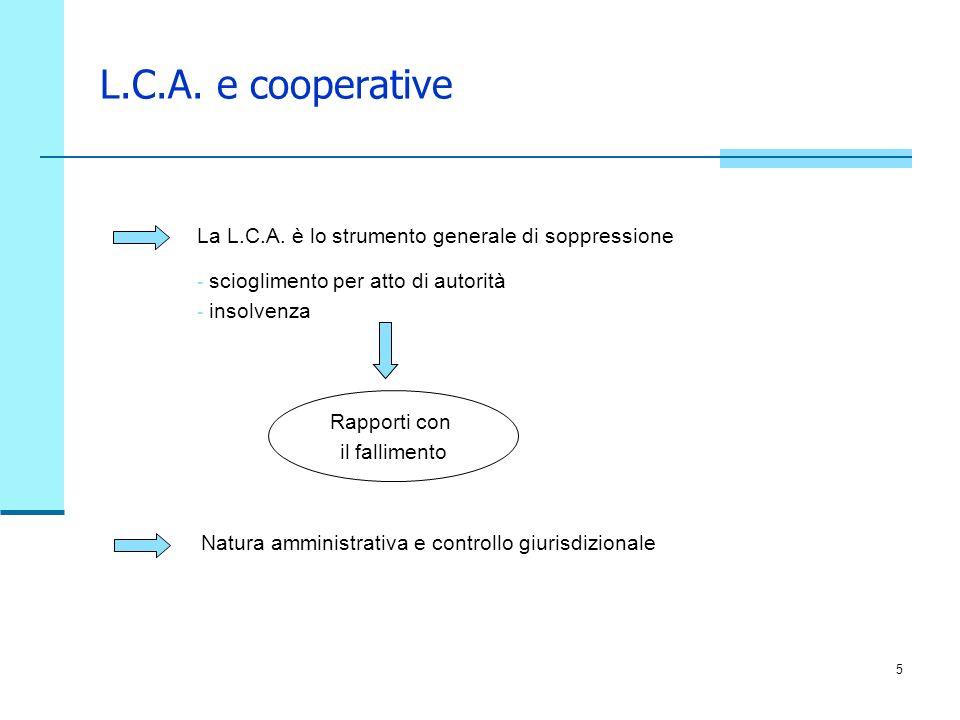 5 L.C.A. e cooperative La L.C.A. è lo strumento generale di soppressione - scioglimento per atto di autorità - insolvenza Natura amministrativa e cont