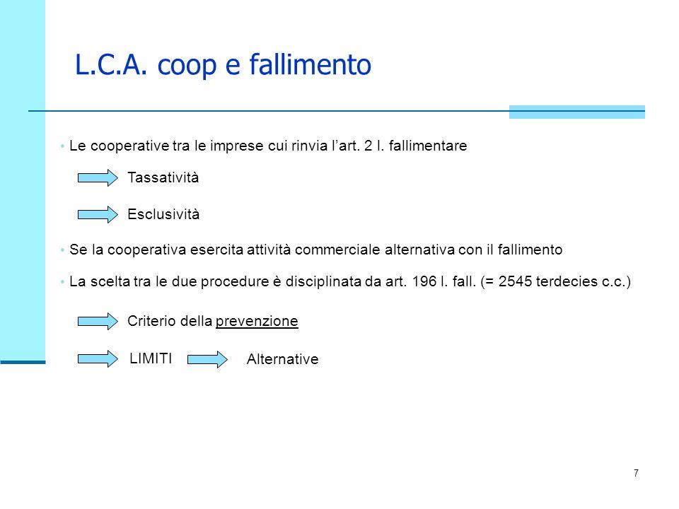 7 L.C.A. coop e fallimento Le cooperative tra le imprese cui rinvia lart. 2 l. fallimentare Tassatività Criterio della prevenzione LIMITI Esclusività