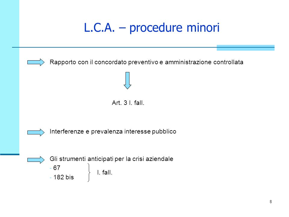 8 L.C.A. – procedure minori Rapporto con il concordato preventivo e amministrazione controllata Art. 3 l. fall. Interferenze e prevalenza interesse pu