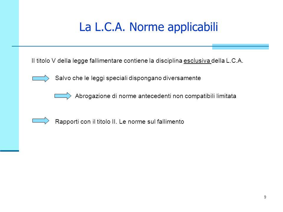 9 La L.C.A. Norme applicabili Il titolo V della legge fallimentare contiene la disciplina esclusiva della L.C.A. Abrogazione di norme antecedenti non