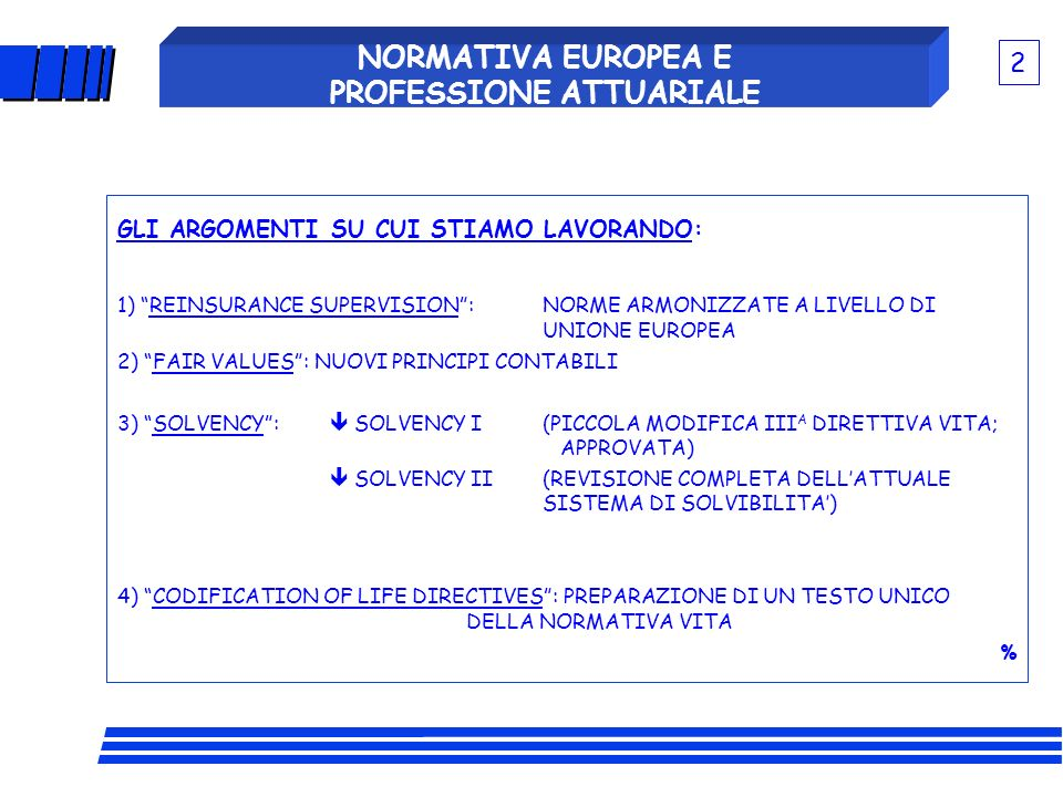 NORMATIVA EUROPEA E PROFESSIONE ATTUARIALE 1) - REVIEW OF EXISTING EUROPEAN DIRECTIVES (SOLVENCY I) - MULLER REPORT OF 1997.