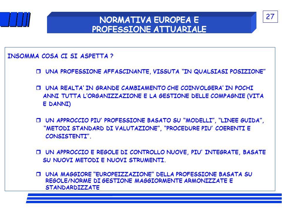 NORMATIVA EUROPEA E PROFESSIONE ATTUARIALE INSOMMA COSA CI SI ASPETTA ? UNA PROFESSIONE AFFASCINANTE, VISSUTA IN QUALSIASI POSIZIONE UNA REALTA IN GRA