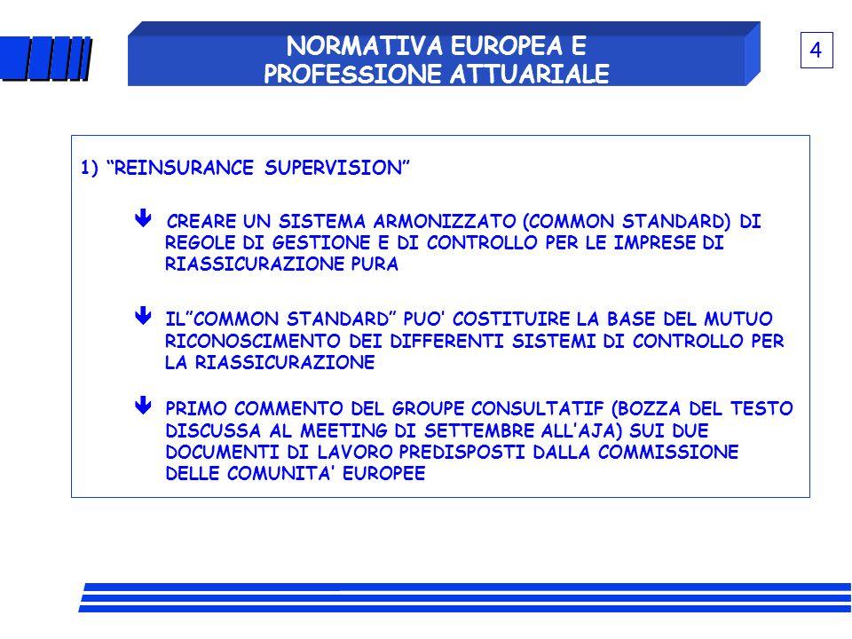 NORMATIVA EUROPEA E PROFESSIONE ATTUARIALE VIGILANZA BANCARIA (ACCORDO BASILEA II) DIFFERENZE/ANALOGIE SETTORI BANCARIO E ASSICURATIVO I RISCHI SONO DIVERSI IL CONTROLLO PRUDENZIALE BANCARIO RIGUARDA SOSTANZIALMENTE RISCHI DELLATTIVO (NON ESISTONO, P.E., RISCHI DI RISERVE INSUFFICIENTI, DI UNDERWRITING, DI RIASSICURAZIONE, ECC.) GLI OBIETTIVI SONO DIVERSI oSTABILITA DEL SISTEMA BANCARIO INTERNAZIONALE oPROTEZIONE DEGLI ASSICURATI CONTRO IL RISCHIO DI FALLIMENTO DELLA SINGOLA COMPAGNIA.