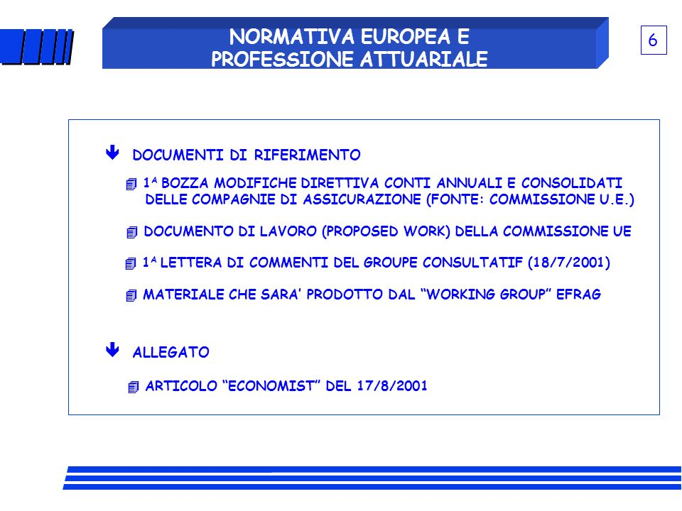 NORMATIVA EUROPEA E PROFESSIONE ATTUARIALE TRE CONDIZIONI NECESSARIE AFFINCHE I MODELLI INTERNI (PER LA VALUTAZIONE DEL LIVELLO DELLADEGUATEZZA DEL CAPITALE) POSSANO ESSERE CONSIDERATI AFFIDABILI DALLE AUTORITA DI CONTROLLO: - IL SENIOR MANAGEMENT DEVE USARLI AI FINI DELLE DECISIONI DA PRENDERE, LI DEVE CONSIDERARE UTILI; - DEVONO CONSENTIRE DI QUANTIFICARE IL RISCHIO, MISURARLO OBIETTIVAMENTE; - DEVE ESSERE POSSIBILE VALIDARLI SECONDO UNA PROCEDURA INTERNA E TEST INDIPENDENTI I MODELLI DI RISCHIO POSSONO RAPPRESENTARE UN UTILE STRUMENTO PER LAUTORITA DI CONTROLLO, ANCHE SE POSSONO COMPORTARE DIFFICOLTA (COMPLESSITA DEI MODELLI IMPLICA COMPLESSITA DEI DATI NECESSARI E COSTI RELATIVI).