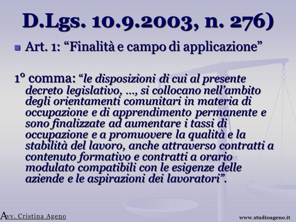 D.Lgs. 10.9.2003, n. 276) Art. 1: Finalità e campo di applicazione Art.