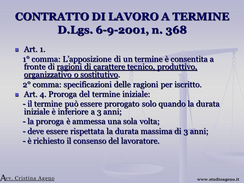 CONTRATTO DI LAVORO A TERMINE D.Lgs. 6-9-2001, n.