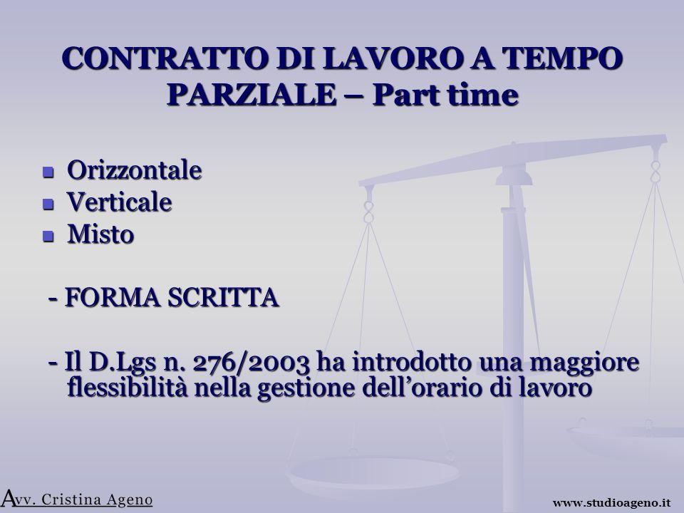 CONTRATTO DI LAVORO A TEMPO PARZIALE – Part time Orizzontale Orizzontale Verticale Verticale Misto Misto - FORMA SCRITTA - FORMA SCRITTA - Il D.Lgs n.