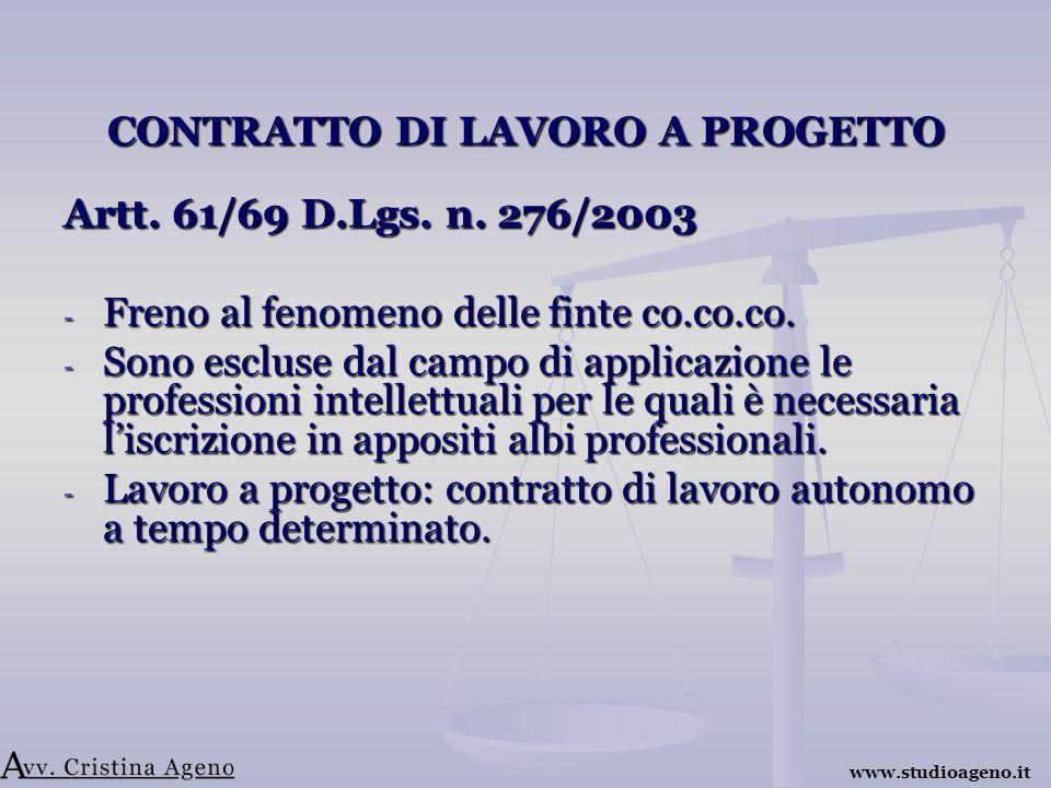 CONTRATTO DI LAVORO A PROGETTO Artt. 61/69 D.Lgs.