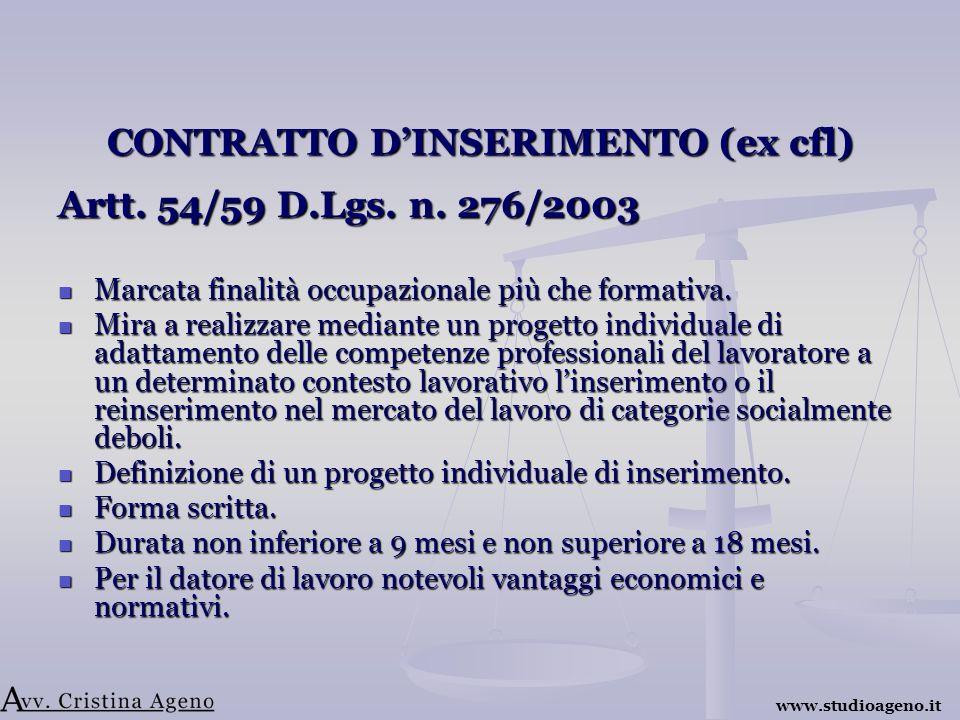 CONTRATTO DINSERIMENTO (ex cfl) Artt. 54/59 D.Lgs.