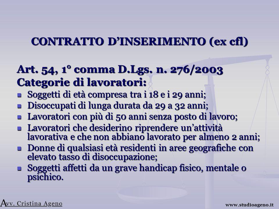 CONTRATTO DINSERIMENTO (ex cfl) Art. 54, 1° comma D.Lgs.