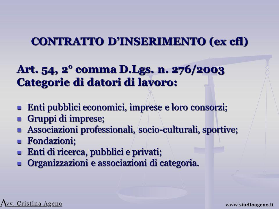 CONTRATTO DINSERIMENTO (ex cfl) Art. 54, 2° comma D.Lgs.