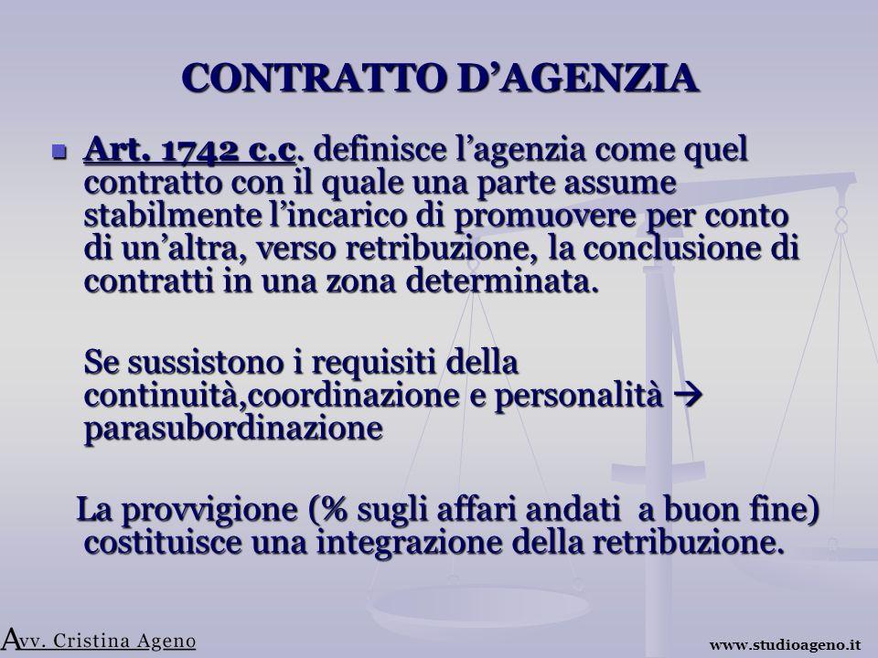 CONTRATTO DAGENZIA Art. 1742 c.c.