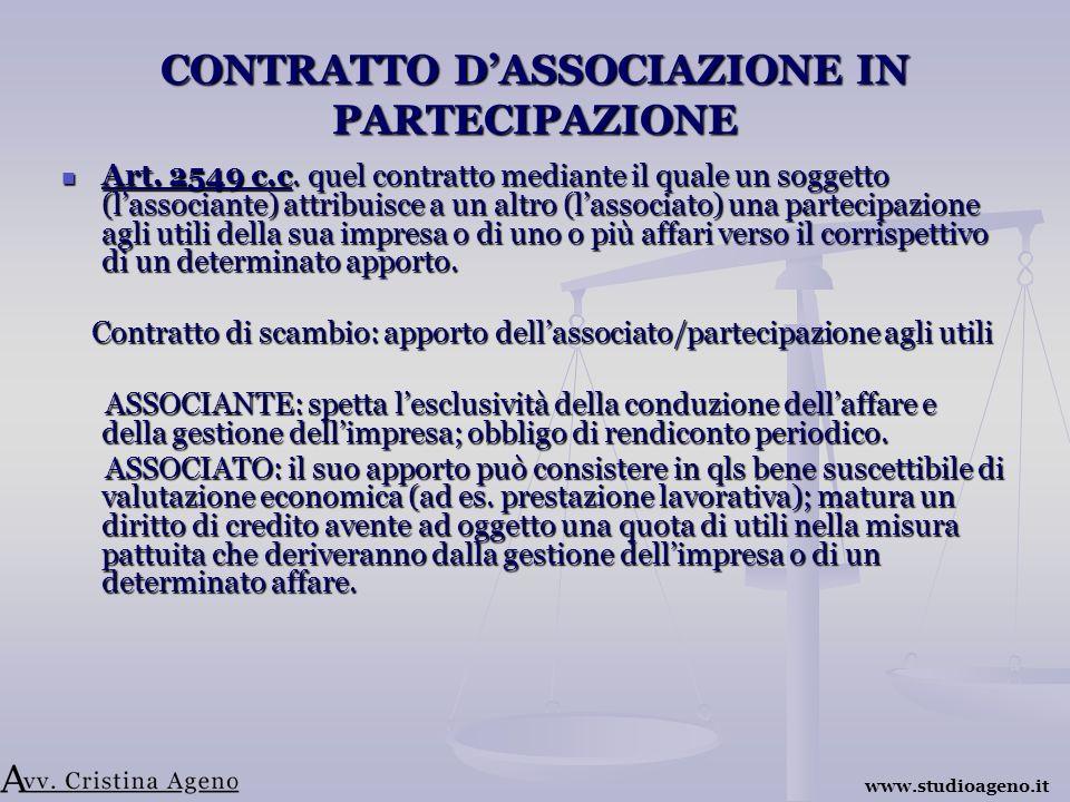 CONTRATTO DASSOCIAZIONE IN PARTECIPAZIONE Art. 2549 c.c.