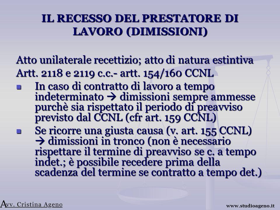 IL RECESSO DEL PRESTATORE DI LAVORO (DIMISSIONI) Atto unilaterale recettizio; atto di natura estintiva Artt.