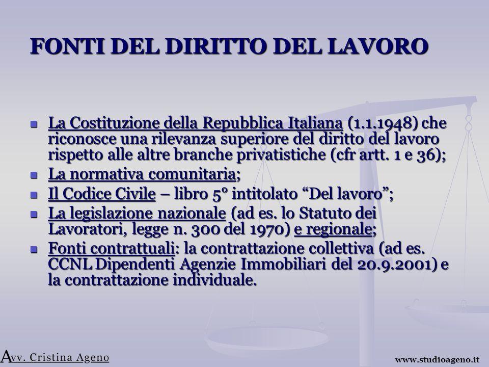FONTI DEL DIRITTO DEL LAVORO La Costituzione della Repubblica Italiana (1.1.1948) che riconosce una rilevanza superiore del diritto del lavoro rispetto alle altre branche privatistiche (cfr artt.