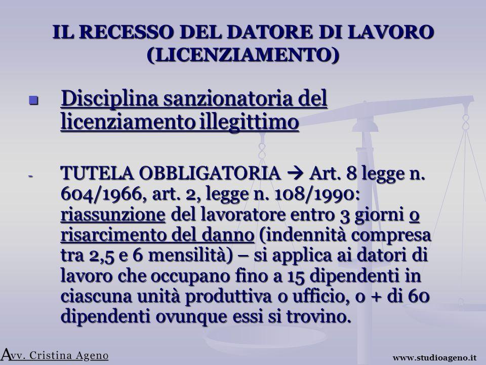 IL RECESSO DEL DATORE DI LAVORO (LICENZIAMENTO) Disciplina sanzionatoria del licenziamento illegittimo Disciplina sanzionatoria del licenziamento illegittimo - TUTELA OBBLIGATORIA Art.