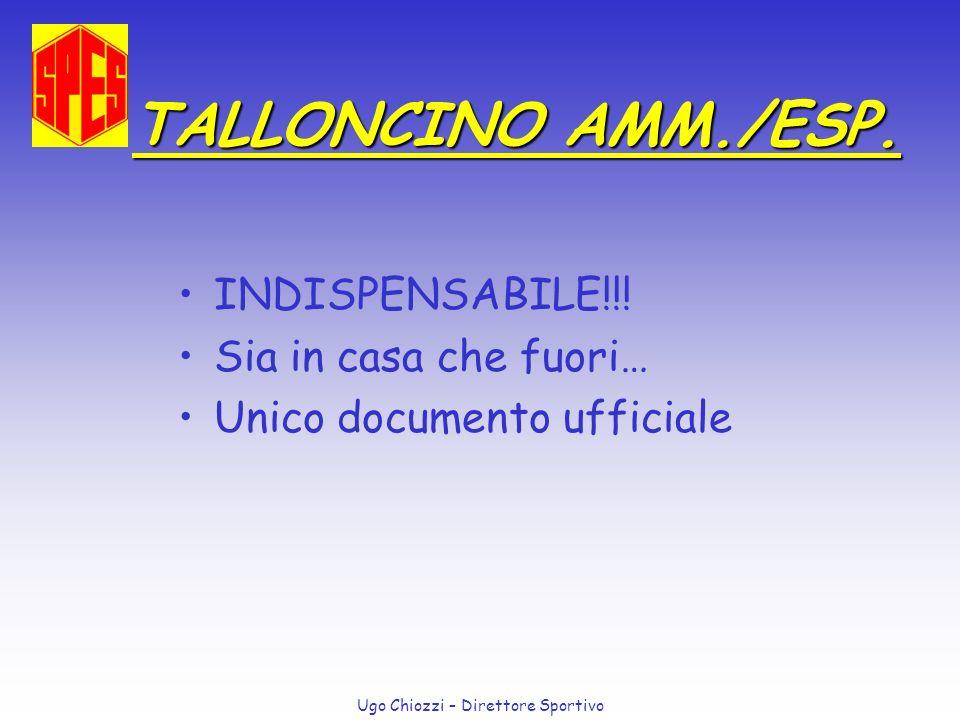Ugo Chiozzi – Direttore Sportivo TALLONCINO AMM./ESP. INDISPENSABILE!!! Sia in casa che fuori… Unico documento ufficiale