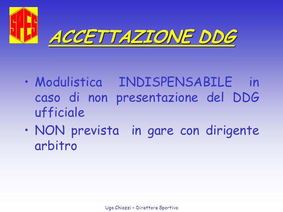 Ugo Chiozzi – Direttore Sportivo ACCETTAZIONE DDG Modulistica INDISPENSABILE in caso di non presentazione del DDG ufficiale NON prevista in gare con d