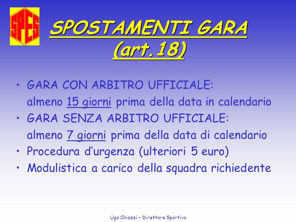 Ugo Chiozzi – Direttore Sportivo SPOSTAMENTI GARA (art.18) GARA CON ARBITRO UFFICIALE: almeno 15 giorni prima della data in calendario GARA SENZA ARBI