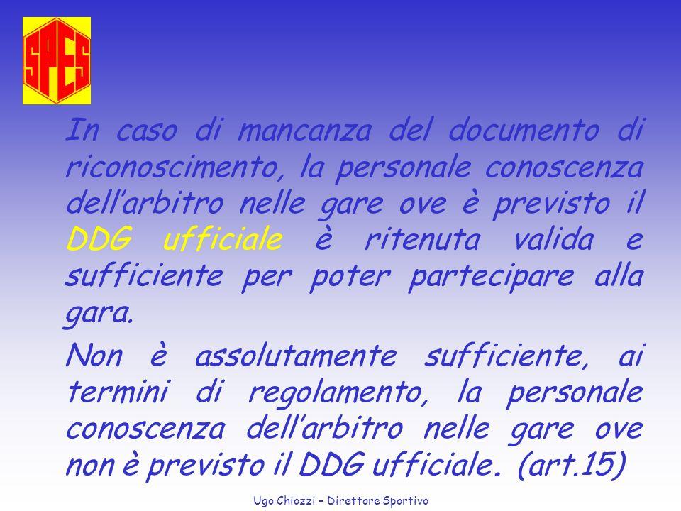 Ugo Chiozzi – Direttore Sportivo In caso di mancanza del documento di riconoscimento, la personale conoscenza dellarbitro nelle gare ove è previsto il