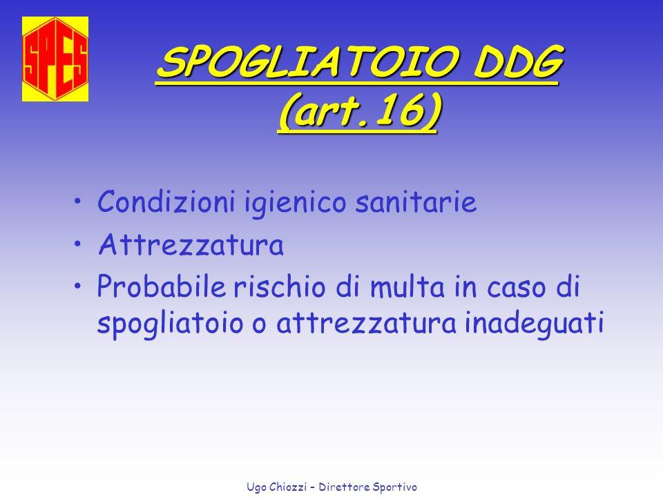 Ugo Chiozzi – Direttore Sportivo SPOGLIATOIO DDG (art.16) Condizioni igienico sanitarie Attrezzatura Probabile rischio di multa in caso di spogliatoio
