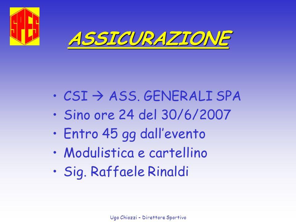 Ugo Chiozzi – Direttore Sportivo ASSICURAZIONE Infortuni: GGL CLIM Casella Postale 10012 20120 Milano (tel.