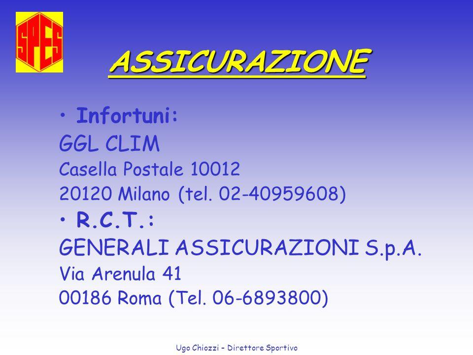 Ugo Chiozzi – Direttore Sportivo ASSICURAZIONE Infortuni: GGL CLIM Casella Postale 10012 20120 Milano (tel. 02-40959608) R.C.T.: GENERALI ASSICURAZION