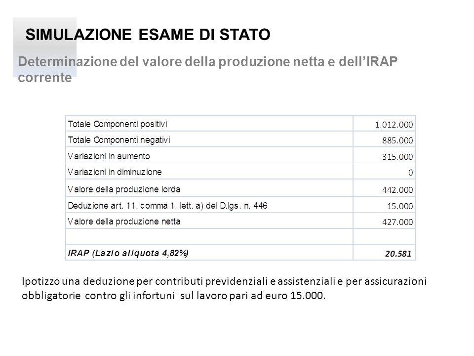 SIMULAZIONE ESAME DI STATO Determinazione del valore della produzione netta e dellIRAP corrente Ipotizzo una deduzione per contributi previdenziali e