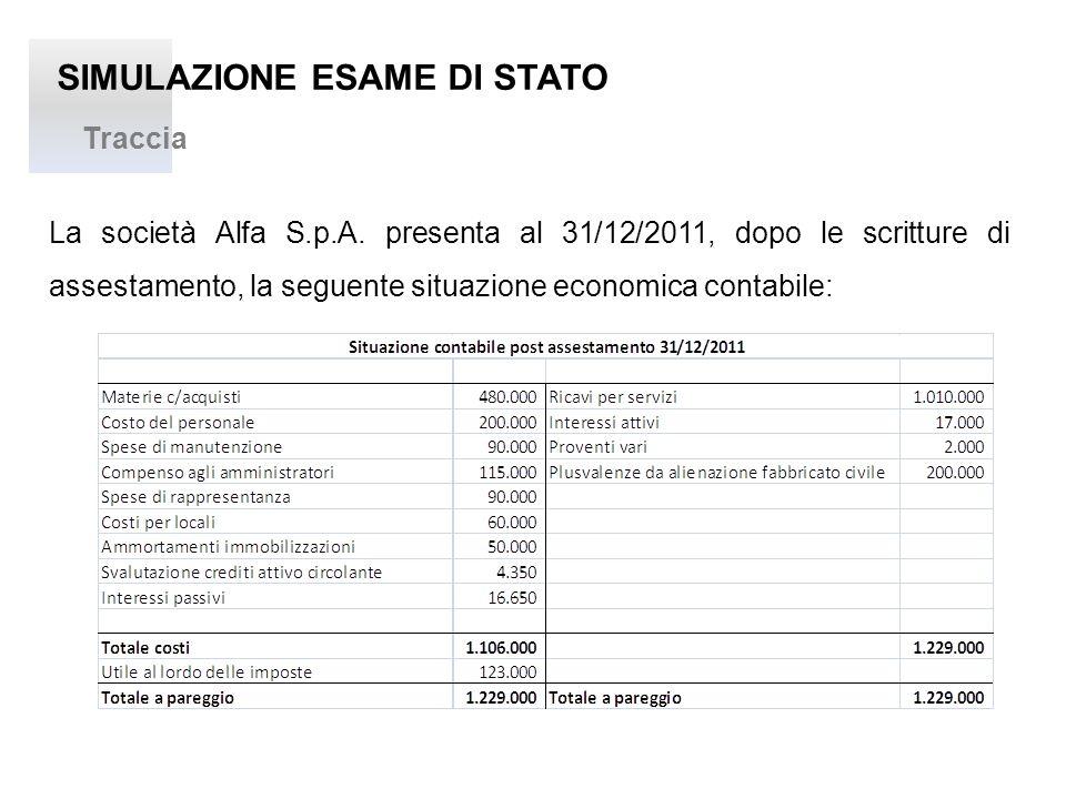 SIMULAZIONE ESAME DI STATO Traccia La società Alfa S.p.A. presenta al 31/12/2011, dopo le scritture di assestamento, la seguente situazione economica