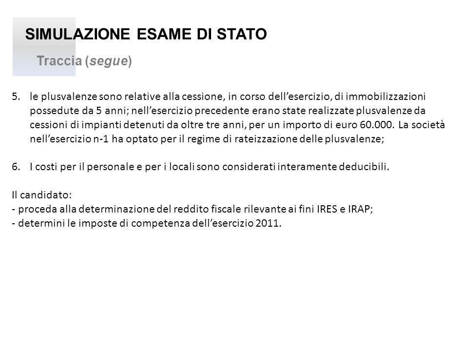 SIMULAZIONE ESAME DI STATO Traccia (segue) 5. le plusvalenze sono relative alla cessione, in corso dellesercizio, di immobilizzazioni possedute da 5 a