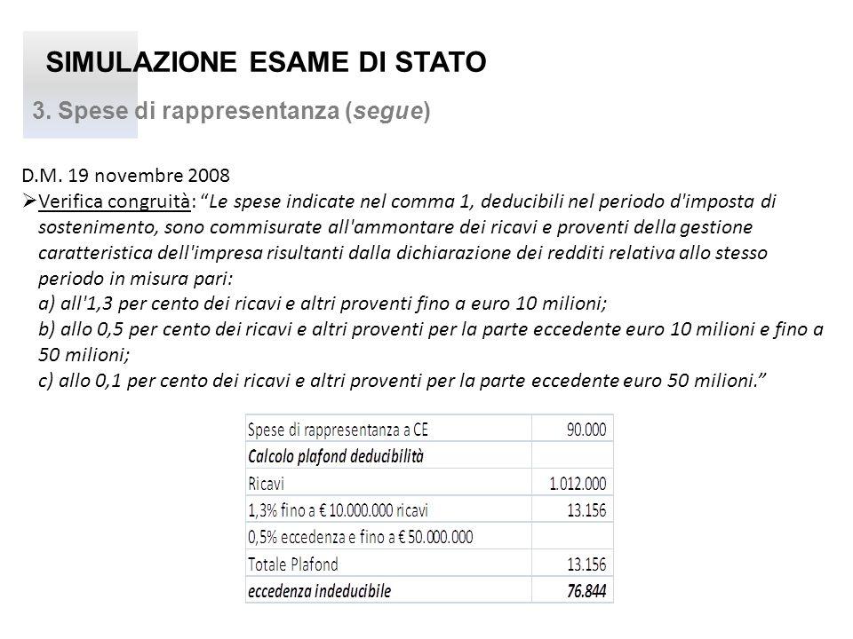 SIMULAZIONE ESAME DI STATO 3. Spese di rappresentanza (segue) D.M. 19 novembre 2008 Verifica congruità: Le spese indicate nel comma 1, deducibili nel