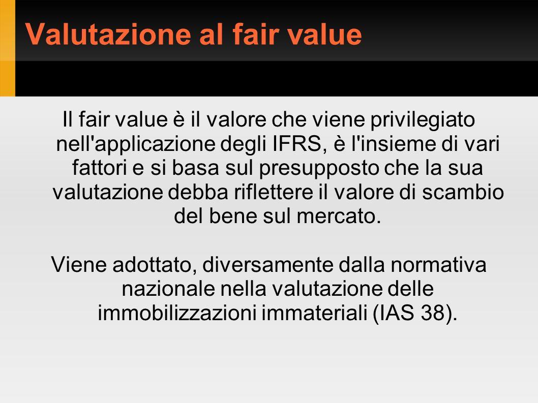 Valutazione al fair value Il fair value è il valore che viene privilegiato nell applicazione degli IFRS, è l insieme di vari fattori e si basa sul presupposto che la sua valutazione debba riflettere il valore di scambio del bene sul mercato.