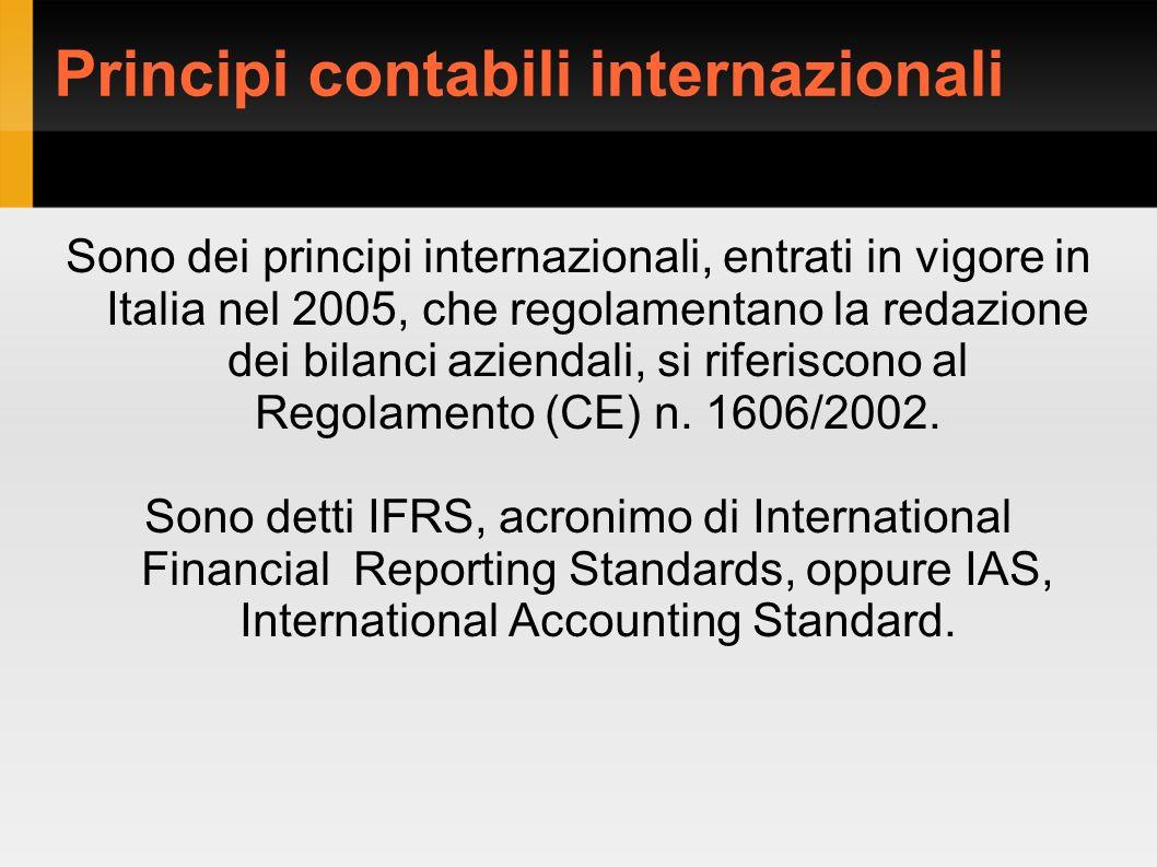 Sono dei principi internazionali, entrati in vigore in Italia nel 2005, che regolamentano la redazione dei bilanci aziendali, si riferiscono al Regolamento (CE) n.
