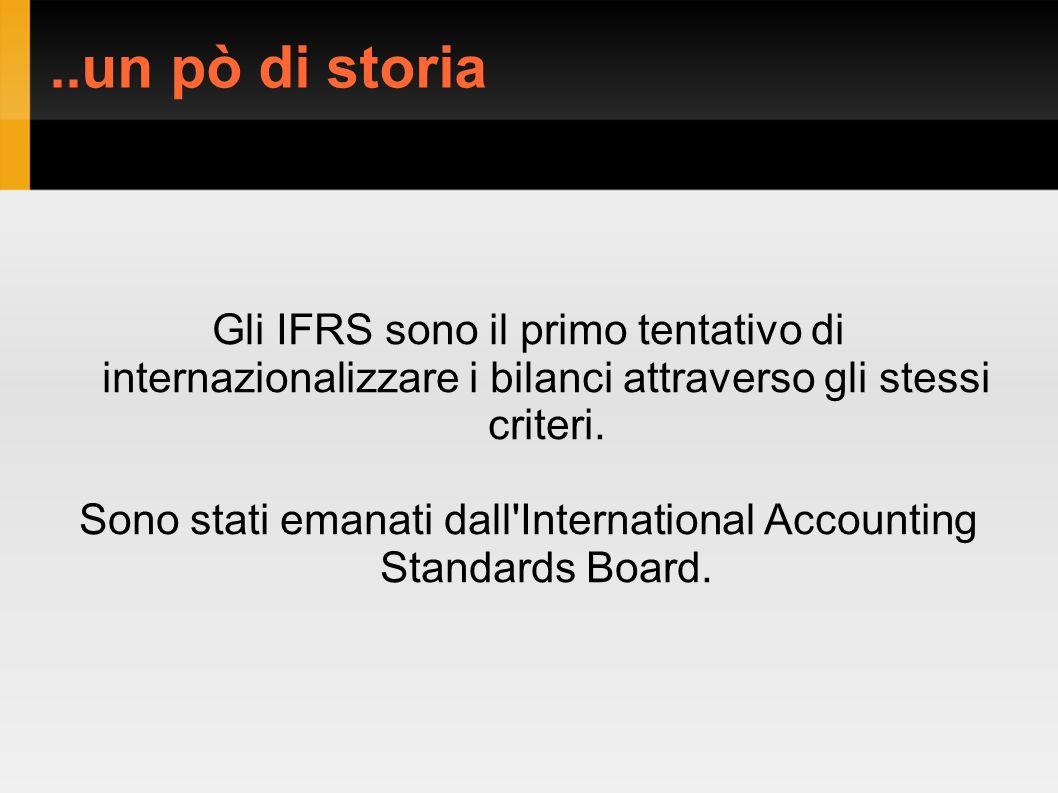 ..un pò di storia Gli IFRS sono il primo tentativo di internazionalizzare i bilanci attraverso gli stessi criteri.