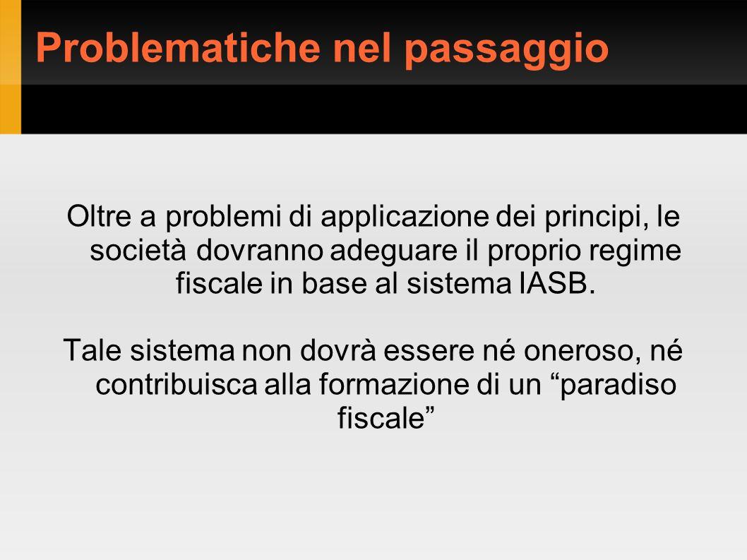Problematiche nel passaggio Oltre a problemi di applicazione dei principi, le società dovranno adeguare il proprio regime fiscale in base al sistema I